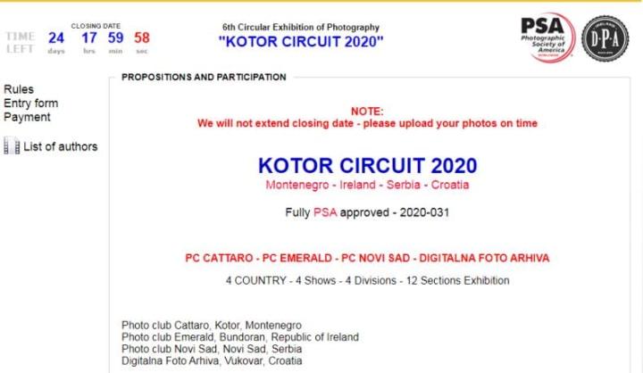 Cuộc thi ảnh quốc tế Kotor Circuit lần thứ 6 năm 2020