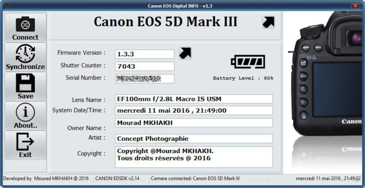 Phần mềm kiểm tra số shot Canon Eos Digital Info v1.4 for window