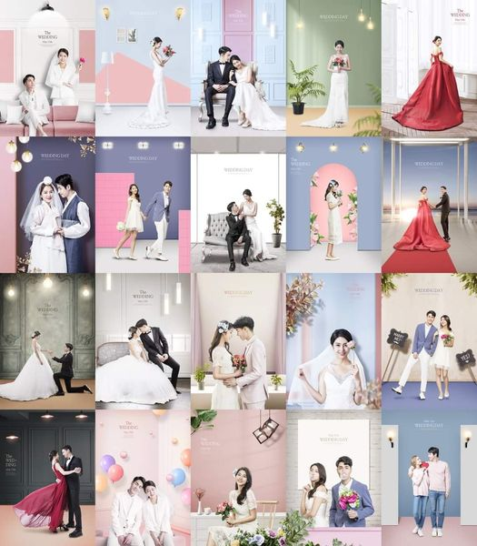 Share bộ 20 file PSD phông nền đám cưới Hàn Quốc